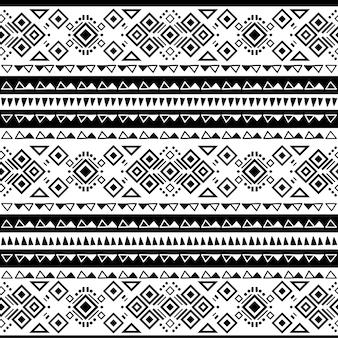 Ornement de vecteur ethnique motif noir et blanc tribal navajo sans soudure