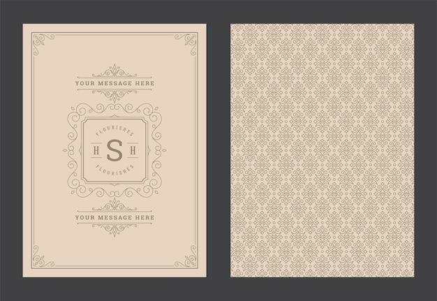 Ornement vintage carte de voeux calligraphique tourbillons ornés et vignettes modèle de conception de cadre