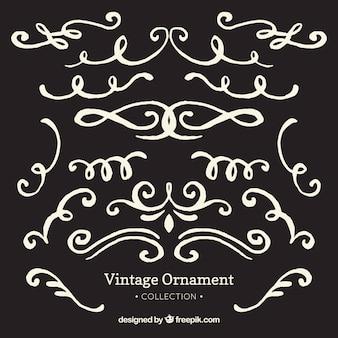 Ornement vintage dessiné main avec style tableau noir