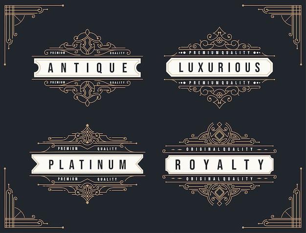 Ornement vintage s'épanouit modèle de conception de logo insigne cadre décoration