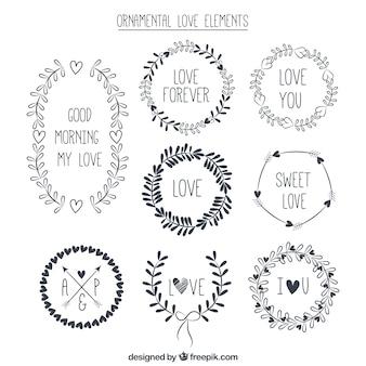 Ornemental collection d'éléments d'amour