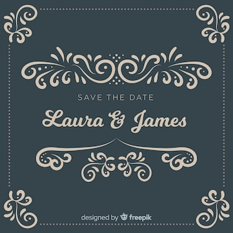 Ornemental sauver l'invitation de mariage date