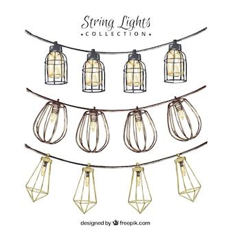 Ornementales guirlandes de lanternes dessinés à la main