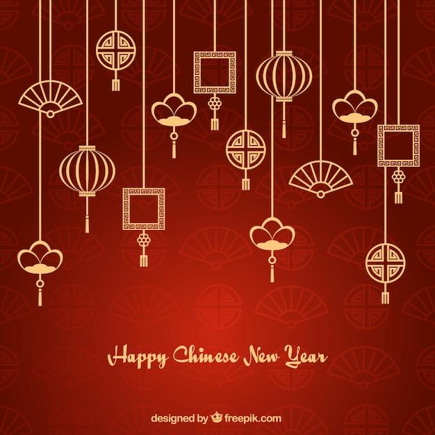 Ornements asiatiques guirlandes nouveau fond de l'année