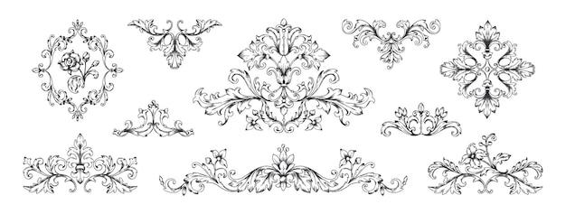 Ornements baroques floraux éléments décoratifs de cadre victorien vintage tourbillonnant héraldique gravé