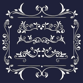Ornements blancs dans le cadre sur fond bleu du thème de l'élément décoratif