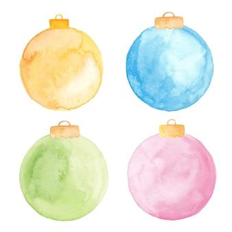 Ornements de boule de noël aquarelle isolés. ensemble de boules de noël peintes.