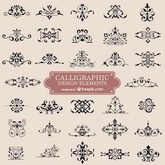 Ornements calligraphie rétro remous