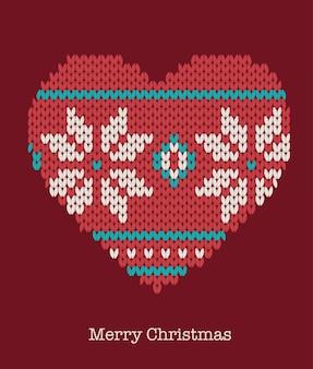 Ornements de coeur de noël - pull tricoté, carte de voeux