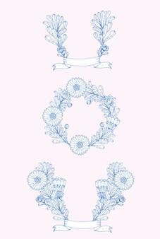Ornements décoratifs fleur nature bleu
