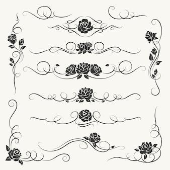 Ornements décoratifs de roses s'épanouir