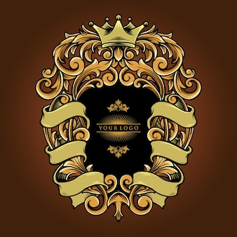 Ornements élégants avec des illustrations vectorielles de ruban vintage pour votre travail logo, t-shirt de mascotte, autocollants et conceptions d'étiquettes, affiche, cartes de vœux faisant la publicité d'une entreprise ou de marques.