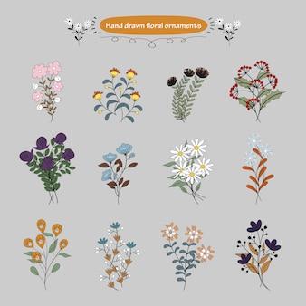Ornements floraux dessinés à la main mignonne