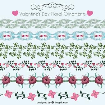 Ornements floraux de jour de valentines