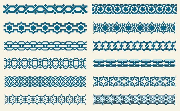 Des ornements islamiques relient des bordures décoratives