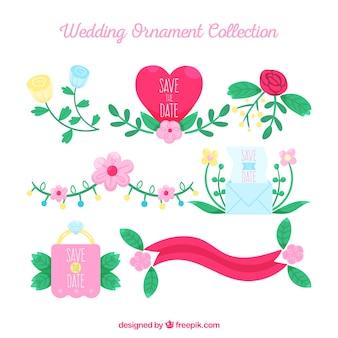 Ornements de mariage dessinés à la main coloré