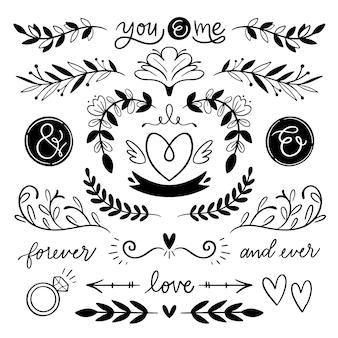 Ornements de mariage dessinés à la main