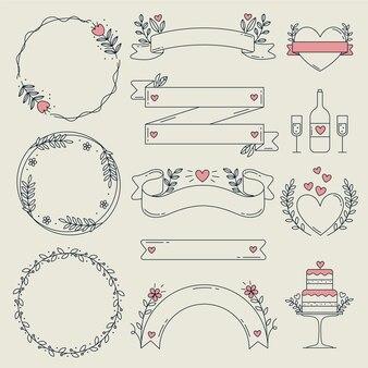Ornements de mariage plats linéaires