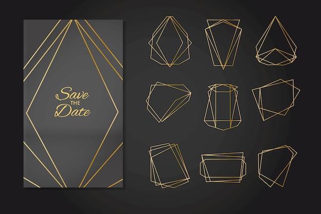 Ornements de mariage polygonaux dorés minimalistes