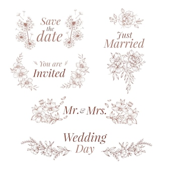 Ornements de mariage de style dessinés à la main