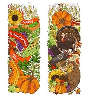 Ornements verticaux de thanksgiving