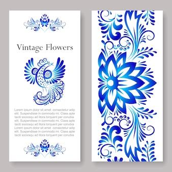 Ornements vintage russes art gjel, illustration du flyer bilatéral de fleurs colorées bleues.
