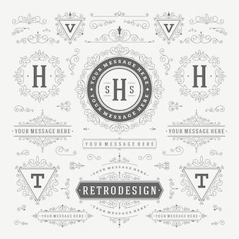 Ornements vintage tourbillonne et défile décorations design éléments vectoriels ensemble s'épanouit fleuri calligraphique