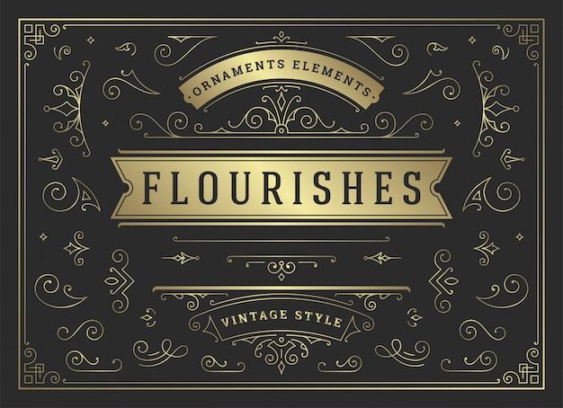 Ornements vintage tourbillonne et fait défiler les décorations design éléments vectoriels ensemble, fleurir fleuri calligraphique