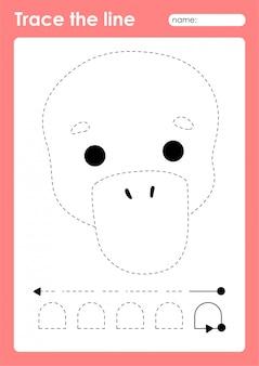 Ornithorynque - feuille de travail préscolaire tracing lines pour les enfants pour pratiquer la motricité fine