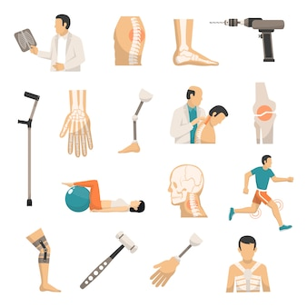 Orthopedics color icons set