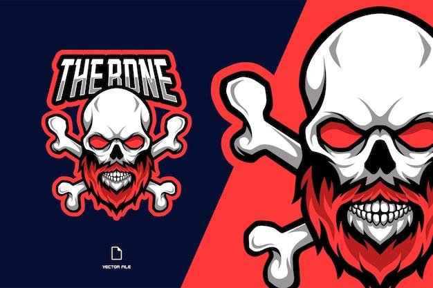 Os de crâne avec une illustration de logo mascotte barbe rouge
