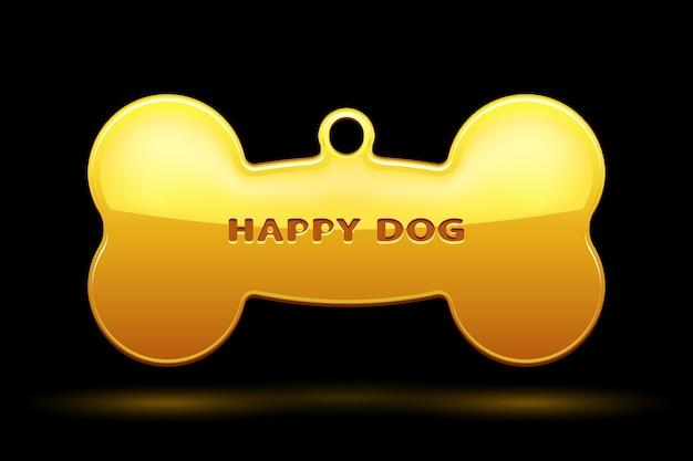 Os doré pour collier de chien