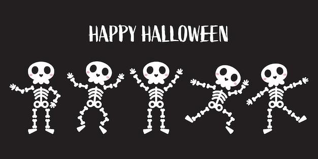 Os de squelette humain mignons dans diverses poses