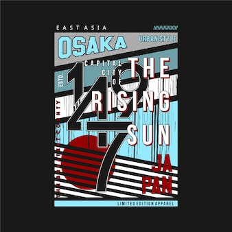 Osaka japon city le soleil levant t-shirt illustration abstraite