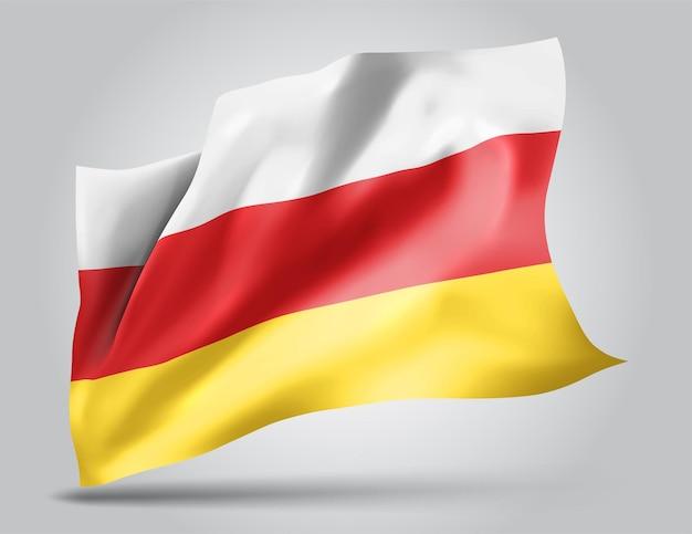 Ossétie du sud, drapeau vectoriel avec vagues et virages ondulant dans le vent sur fond blanc.