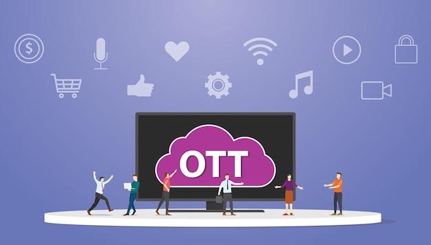 Ott sur le concept de service de plate-forme supérieure avec des gens autour de l'illustration vectorielle de style plat moderne smart tv