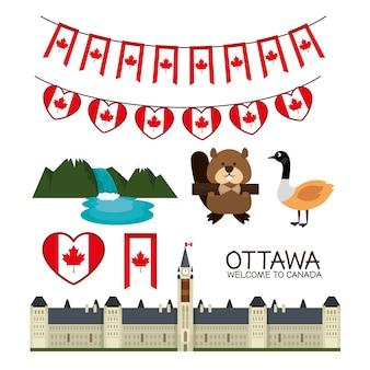 Ottawa canada cityscape scène vecteur illustration design