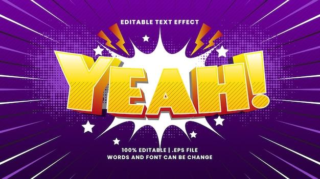 Ouais effet de texte modifiable comique avec style de texte de dessin animé