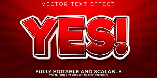 Oui effet de texte, dessin animé modifiable et style de texte comique