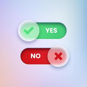 Oui et non des boutons transparents