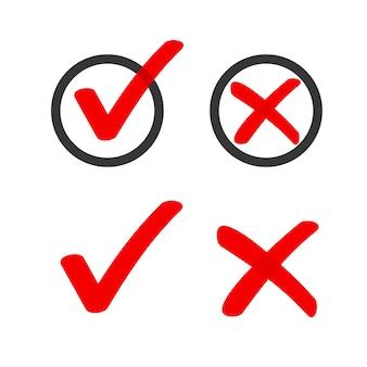 Oui non, le marqueur de liste de cases à cocher coche les icônes cercle doodle, coche de vote rouge dessinée à la main