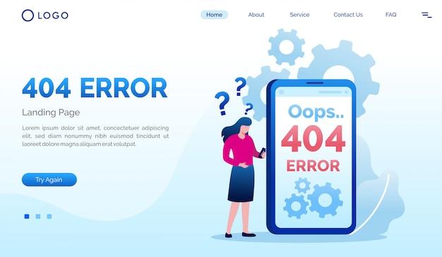 Oups 404 modèle plat de site web de page de destination d'erreur