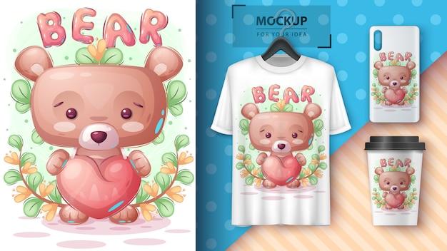 Ours avec affiche coeur et merchandising.
