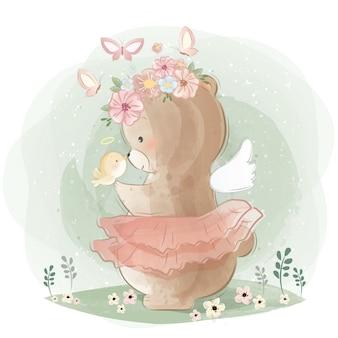 Ours angélique et un petit oiseau