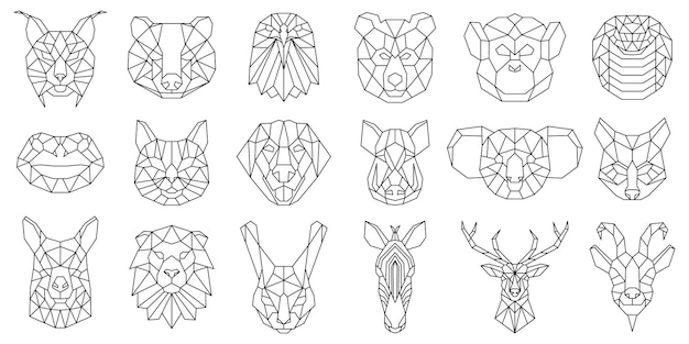 Ours animal polygonal linéaire, serpent, têtes géométriques de chien. visages d'animaux low poly, sanglier, lama, lynx et koala ensemble d'illustrations vectorielles. portraits d'animaux polygonaux