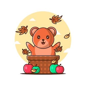 Ours d'automne mignon de dessin animé avec des pommes