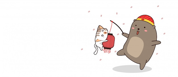 Ours bannière porte une lampe chinoise avec bannière de chat