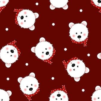 Ours blanc avec une écharpe rouge à pois sur fond rouge.