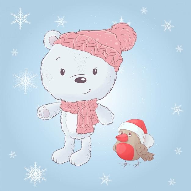 Ours blanc dessin animé mignon dans un chapeau avec un bouvreuil. illustration vectorielle