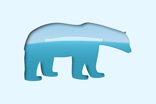 Ours blanc polaire de l'arctique du nord dans un style d'art artisanal découpé en papier